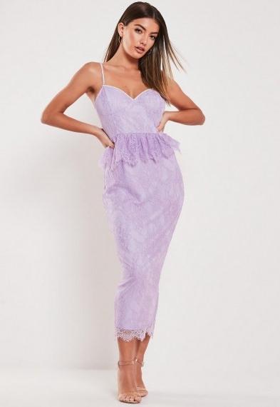 Missguided lilac lace diamante strap peplum midi dress ~ strappy bodycon