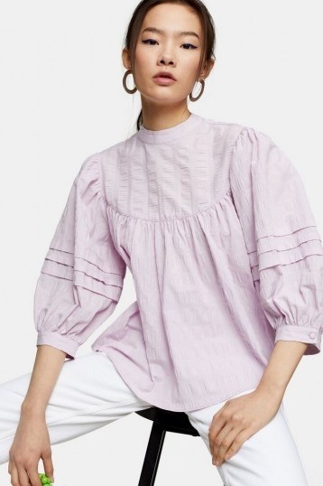 TOPSHOP Lilac Textured Chuck On Blouse ~ puff sleeved loose-fit blouses - flipped
