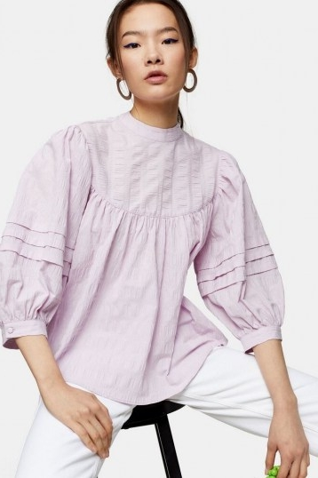 TOPSHOP Lilac Textured Chuck On Blouse ~ puff sleeved loose-fit blouses