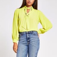 RIVER ISLAND Lime long sleeve tie front eyelet blouse ~ bright tie neck blouses