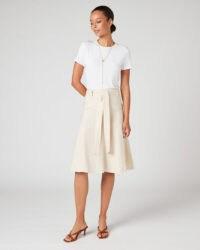 JIGSAW LINEN BELTED SKIRT Vanilla / neutral fit & flare skirts