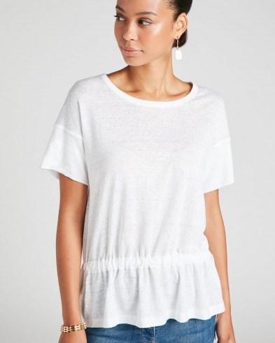 Jigsaw LINEN DRAWSTRING HEM TEE White | warm weather wardrobe essential - flipped