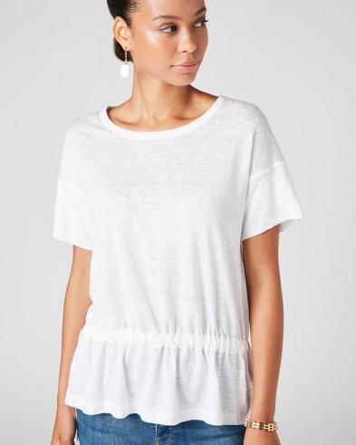 Jigsaw LINEN DRAWSTRING HEM TEE White | warm weather wardrobe essential