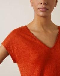 JIGSAW LINEN V CAP SLEEVE TEE / orange-red t-shirt