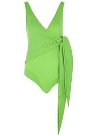 LISA MARIE FERNANDEZ Dree Louise green swimsuit ~ wrap effect swimsuits