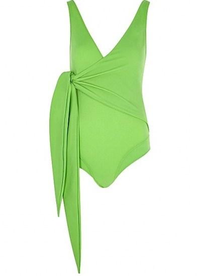 LISA MARIE FERNANDEZ Dree Louise green swimsuit ~ wrap effect swimsuits - flipped