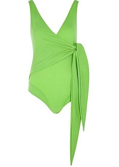 LISA MARIE FERNANDEZ Dree Louise green swimsuit ~ wrap effect swimsuits