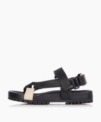 DUNE Listen Black Chunky Flat Sandals / summer flats