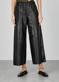 LOEWE Black cropped wide-leg leather trousers ~ crop hem pants