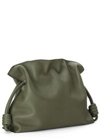 LOEWE Flamenco army green leather clutch / chic bags