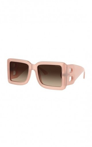 Burberry Pink Logo Oversized Square-Frame Acetate Sunglasses / large designer sunnies - flipped