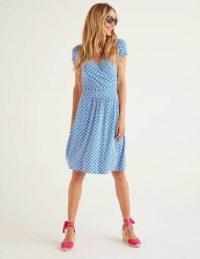 Boden Lola Jersey Dress – Bold Blue, Arc Scallop / wrap style day dresses