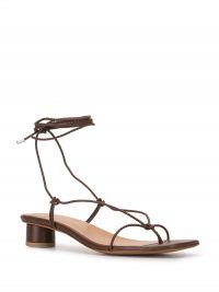 Loq Cacao Dora sandals / minimal brown leather ankle tie sandal