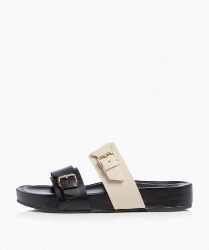 Dune Loren T – Black Buckle Slider Sandals | colourblock slides - flipped