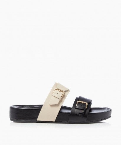 Dune Loren T – Black Buckle Slider Sandals | colourblock slides