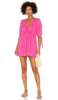 Lovers + Friends Finnegan Dress ~ fuchsia-pink smocked mini