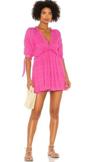 Lovers + Friends Finnegan Dress ~ fuchsia-pink smocked mini - flipped