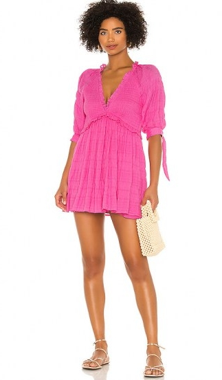 Lovers + Friends Finnegan Dress ~ fuchsia-pink smocked mini