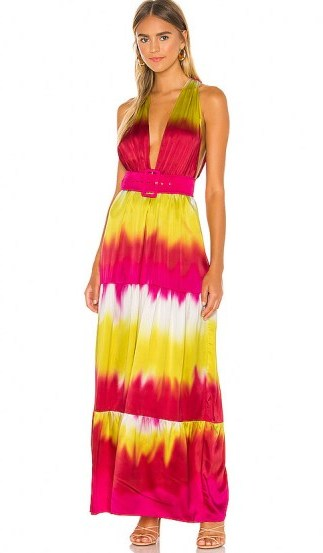 Lovers + Friends Lauren Maxi Dress ~ pink & yellow tie dye - flipped