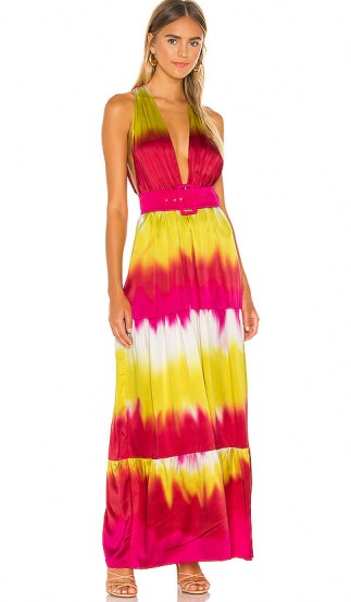 Lovers + Friends Lauren Maxi Dress ~ pink & yellow tie dye