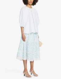 LOVESHACKFANCY Eponda floral-print high-waist cotton midi skirt / classic summer skirts