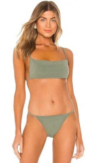 Olivia Culpo style bikini worn on Instagram, (Olivia wore midnight blue) lovewave Scorchin Top and bottoms in Olive | celebrity swimwear | bikinis - flipped