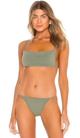 Olivia Culpo style bikini worn on Instagram, (Olivia wore midnight blue) lovewave Scorchin Top and bottoms in Olive | celebrity swimwear | bikinis