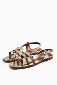 Topshop LOYAL Gold Leather Strap Flat Sandals | strappy metallic slingbacks
