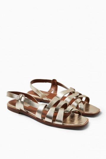 Topshop LOYAL Gold Leather Strap Flat Sandals | strappy metallic slingbacks - flipped