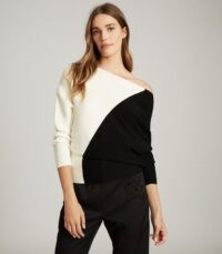 REISS LUCY COLOUR BLOCK KNITTED JUMPER BLACK/WHITE ~ asymmetrical knitwear ~ monochrome off shoulder knits
