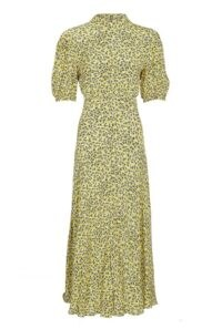 GHOST LUELLA DRESS Sophie Leaf Yellow / high neck dresses with short voluminous sleeves