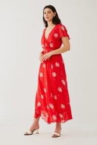 GHOST LULIE DRESS Seed Scatter / red floaty frill detail dresses