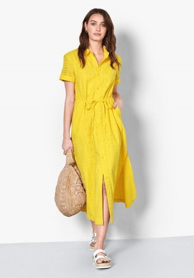 hush Lyon Broderie Cotton Dress Yellow / sunny summer dresses - flipped