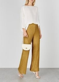 M MISSONI Gold wide-leg metallic-knit trousers / instant glamour