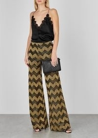 M MISSONI Zigzag wide-leg metallic-knit trousers / glamorous evening pants