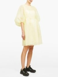 CECILIE BAHNSEN Mabel puff-sleeve laddered-organza dress ~ lemon yellow dresses