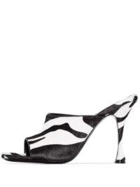 Magda Butrym Estonia zebra stripe mules / black and white high heel peep-toe mule