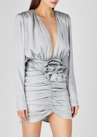 MAGDA BUTRYM Grey ruched silk mini dress / evening event glamour / glamorous occasion wear
