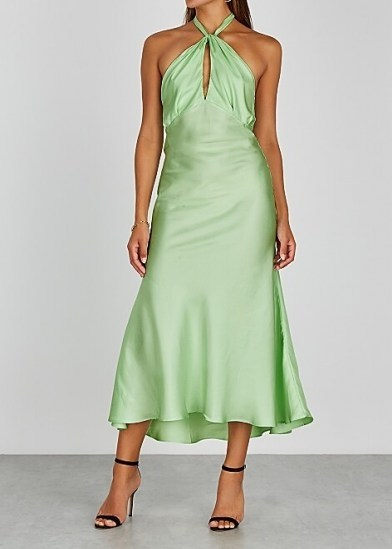 MAGGIE MARILYN She's Got Her Groove Back silk midi dress | green slinky halterneck dresses | fluid fabric fashion - flipped