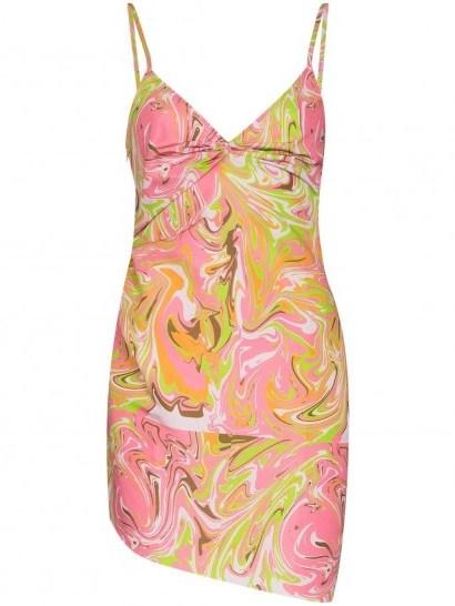 Maisie Wilen Party Girl graphic-print dress ~ spaghetti strap mini ~ swirl print fabrics - flipped