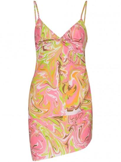 Maisie Wilen Party Girl graphic-print dress ~ spaghetti strap mini ~ swirl print fabrics