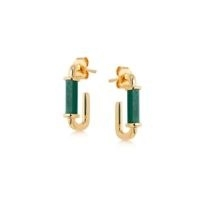 MISSOMA malachite gold ovate mini hoops / oval shaped green stone hoop earrings