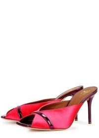 MALONE SOULIERS Lucia 85 pink satin and leather mules