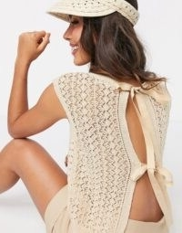Mango crochet knitted sleeveless t-shirt in beige | tie back kniited tops | bow detail knits