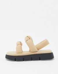 Mango foam chunky sandals in light pink | knotted thick-strap flat sandal