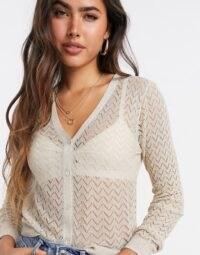 Mango metallic thread chevron cardigan in silver | sheer knits