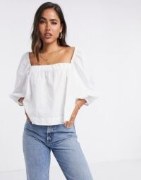 Mango poplin square neck blouse with puff sleeves in white | essential summer top