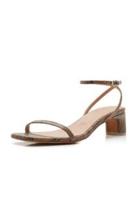 LoQ Marina Snake-Effect Leather Sandals ~ reptile print barely-there low heels