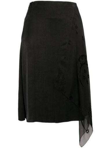 Marine Serre asymmetric layered skirt ~ side draped skirts - flipped