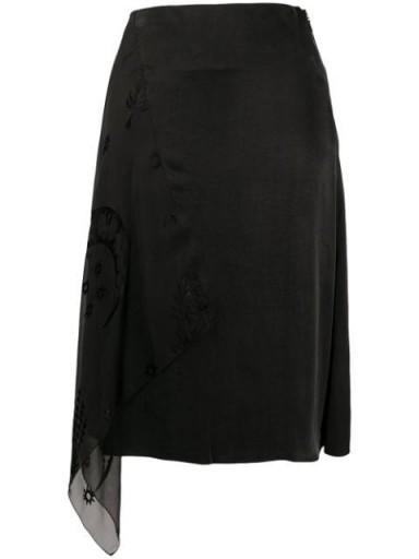 Marine Serre asymmetric layered skirt ~ side draped skirts